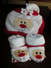 So Dorable Infant SANTA BOOTIES & CAP 0-6mo CHRISTMAS BABY 3pc NEW Velour HAT