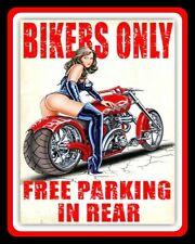 BIKERS ONLY FREE PARKING IN REAR MOTORCYCLE MOTORBIKE METAL PLAQUE TIN SIGN N337