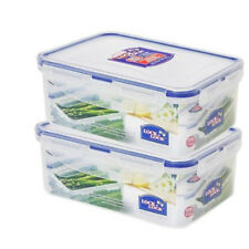 Lock & Lock Plastic Rectangular Food Container Storage Lunch Box HPL815M X 2