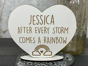 Personalised After Every Storm Comes A Rainbow Childrens Birthday Stand Gift