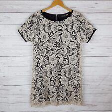 Palma Australia Shift Dress Size L Black Beige Lace