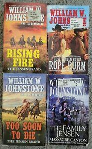 WILLIAM W JOHNSTONE JENSEN BOYS BRAND TITLES WESTERN PAPERBACK 4 BOOK LOT NOVELS