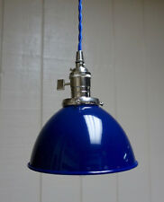 "Blue Porcelain Enamel Shade: 7"" Industrial Dome, 2-1/4"" fitter, Metal Lampshade"