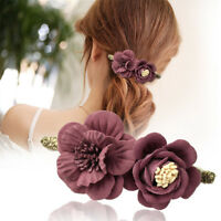 Fashion Woman Ladies Fabric Flower Hair Clips Hairpin Hair Pins Accessories