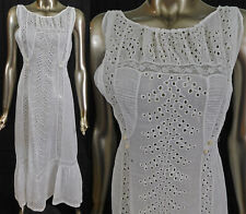 Vintage Edwardian White Cotton Batiste Eyelet Cutwork Lace Long Slip Sun Dress