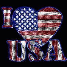 "HOTFIX RHINESTONES HEAT TRANSFER IRON ON ""4th of July I love USA"" - No T shirts"