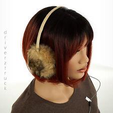 JUICY COUTURE Limited Edition BLACK BEIGE EAR MUFFS Faux FUR Headphone HEARMUFF