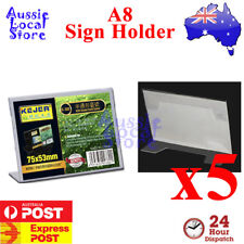 5 x A8 Acrylic Single Sided Slanted Counter Sign Holder Picture Photo Manu
