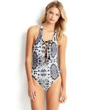 NWT Seafolly Mandala Reversible Lace Up Maillot One piece Black AU 14/US 10 (L4)