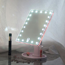 22 LED Illuminated Make Up Mirror Tabletop Cosmetic Vanity light up Bathroom UK