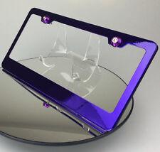 Candy Purple Frame License Plate Tesla Jeep w/ Aluminum Circle Type Screw Caps
