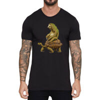 Sloth And Turtle Funny T-shirts Men's Cotton Short Sleeve Black Tops Summer Tee