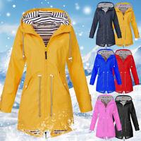 Womens Long Sleeve Hooded Wind Jacket Ladies Outdoor Waterproof Rain Coat 2019