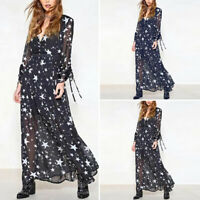 Women Summer Beach Bohemia Chiffon Star Printed High Waist Long Dress Oversized