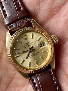 RolexOyster Perpetual Ladies 6917 Circa 1981 18K Yellow Gold Automatic Movement