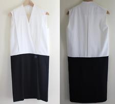 CELINE - Sz 36 - Elegant White + Black Minimalism Straight Sheath Dress