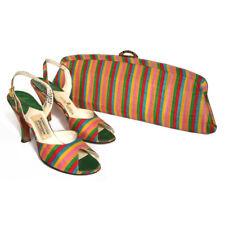 vintage 50s candy stripe pinup peep toe heels matching clutch purse de liso