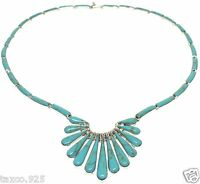 TAXCO MEXICAN 950 STERLING SILVER TURQUOISE NECKLACE MEXICO
