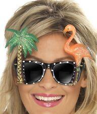 Hawaiian Flamingo Sunglasses Luau Fancy Dress Party New Black New by Smiffys