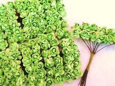 144 Mulberry Paper Rose Flower Bouquet/Parchment/wire stem/bow/craft H420-Green