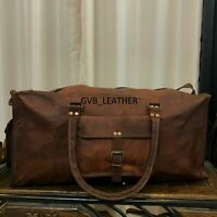 Vintage Large Luggage Brown New Bag Men's Leather Flexible Duffel Travel Gym