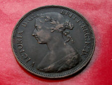 XF+ 1887  United Kingdom Half Penny 2nd portrait of Victoria with HOLDER