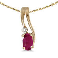 """14k Yellow Gold Oval Ruby And Diamond Wave Pendant with 18"""" Chain"""