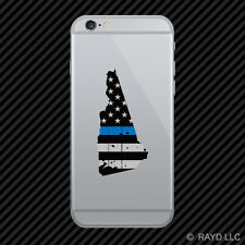 Distressed New Hampshire Shaped Subdued US Flag Thin Blue Line Phone Sticker