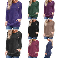 Womens Tunic Tops Long Sleeve Pockets Solid Loose Tops Blouse T-Shirt Pullover