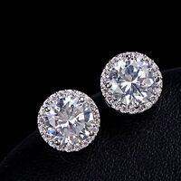 Sanwood Nice Crystal Zircon Inlaid Ear Stud Platinum Plated Earrings Women E7