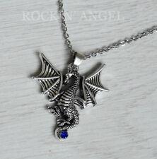 Antique Silver Blue Crystal Dragon Pendant Chain Necklace Men Ladies Gift Viking