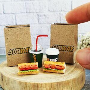 Dollhouse Miniatures Sandwich SUBWAY Fast Food Coke COCA-COLA Cup Soda Set