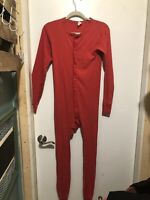 Red One Piece Long Underwear PJs Unionsuit Lumberjack Mens Vintage Small 34-36