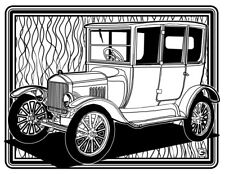 Coloring Page - Retro Car # 1 (Hi-Res JPG file will be sent by email)