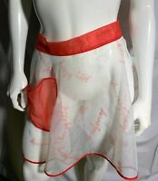 Vintage White Sheer Short Apron Womens MCM Mid Century Christmas Happy Holidays