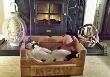 Beautiful Handmade Rustic Wooden Personalised  Pet Bed -BUNK- CAT - DOG - Unique
