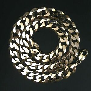 HEAVY  9 CT GOLD FLAT CURB LINK 51 CM CHAIN NECKLACE 72 GRAMS