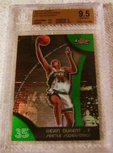KEVIN DURANT 2007 TOPPS FINEST GREEN REFRACTOR RC BGS 9.5 LOWER POP THAN CHROME
