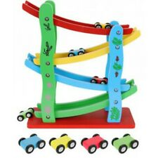 Autorennbahn aus Holz mit 4 Fahrzeugen Kugelbahn Kinderspielzeug ab 3 Jahre NEU