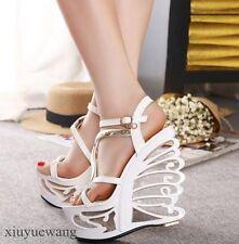 Fashion Womens Platform High Wedge Heel Open Toe Leather Clubwear Sandals Shoes