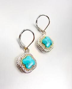 CLASSIC 18kt White Gold Plated Blue Turquoise CZ Crystals Clover Petite Earrings