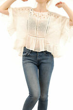 Free People Women's Dot Dreamer Long Sleeve relaxed Cut Top XS Ivory BCF59