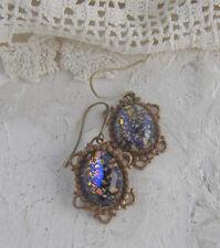 Vintage Blue Glass Gold Fleck Art Glass Fire Opal Dangle Earrings Brass