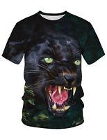 PIZOFF 3D Druck Schwarz kaltblütiger Wolf T-Shirt
