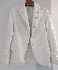 RARE-Paul Harnden Women's S Vintage White Cotton Distressed Blazer-FABULOUS!!!!