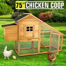 """75"""" Large Wooden Chicken Coop Poultry Pet Cage Hen House W/Run Backyard Nest Box"""