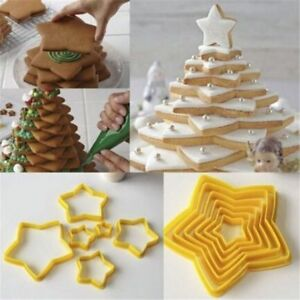 Christmas Cookie Cutter Ginger Stars Christmas Tree Mold 6 pcs Set