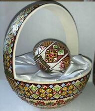 Pysanky Ostrich Egg Basket & duck egg,with colored/raised wax & cutouts (Orb002)