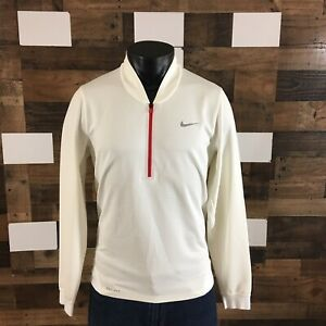 Nike Tiger Woods Dri-Fit Polo Shirt Pullover Antique White 1/2 Zip Mens Sz Small