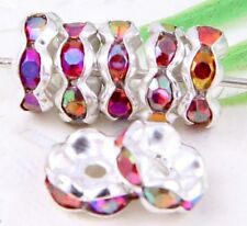 100Pcs Silver Plated Acrylic Crystals Spacer Bead 8mm red AB